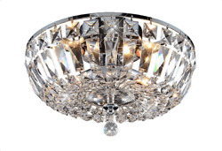 ASFOUR CRYSTAL FOYER DINING ROOM KITCHEN FLUSH MOUNT CHANDELIER 4 LIGHT 14quot; $940.00