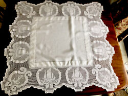 """VINTAGE HAND CROCHET """" Ships amp; Anchor """" yacht boat White LINEN Lace Table Cloth GBP 175.00"""