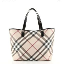 Burberry Nickie Tote Nova Check Coated Canvas Large With Matching Pouch $750.00