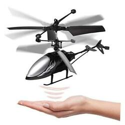 Remote Control Helicopter Flying Toys Mini Led Rechargeable Hand Black $21.92