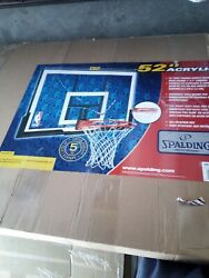 SPALDING ACRYLIC 52quot; BASKETBALL BACKBOARD WITH RIM CALCULATED SHIPPING NEW $117.10