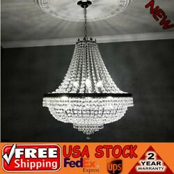 30quot;H CRYSTAL CHANDELIER FRENCH EMPIRE LARGE FOYER SILVER CEILING LIGHTING US STO $196.00
