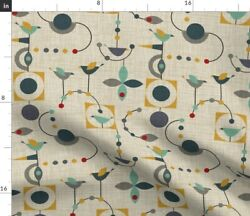 Retro Geometric Large Scale Birds Mid Century Spoonflower Fabric by the Yard $15.00