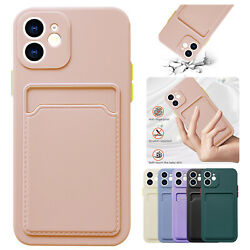 For iPhone 12 Pro Max 11 XS XR 8 7 SE2 Liquid Silicone Wallet Card Case Cover $1.99
