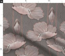 Art Deco Poppies Blush Large Scale Floral Spoonflower Fabric by the Yard $38.00
