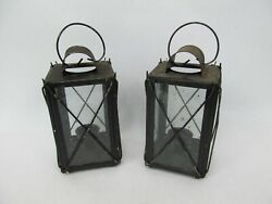2 Metal and Glass Candle Lanterns Lamps $19.99