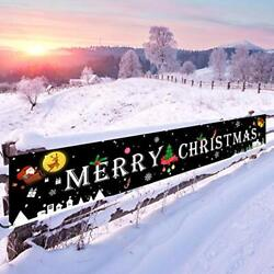Merry Christmas Banner Black Large Signs Outdoor Decor 21quot; x 118quot; Durable $15.72