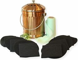 Compost Bin Kitchen Copper for Indoor Countertop Large 1.3 Gallon Food $34.99