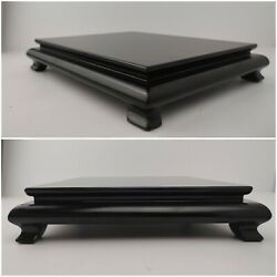 Chinese Rectangle Wooden Base Stand Large 11.5quot; by 9.5quot; Black Pedestal Wood Base $49.00