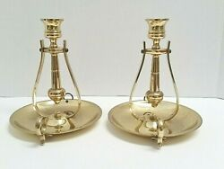 Pair of Baldwin Brass Sconces Candle Holders Swinging Nautical Gimbal 7quot; Tall $29.00