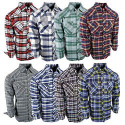 Flannel Plaid Shirt Mens Western Snap Up Pockets Cool New Colors Long Sleeve $19.95