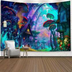 Wall Hanging Cover Tapestry Hippie Psychedelic Forest Mushroom House Home Decor $14.24