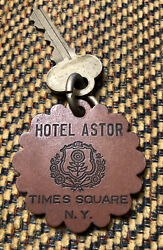 Vintage Room Key #661 Hotel Astor NYC Times Square w Signed Leather Key Fob $119.99