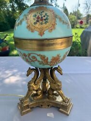 """Antique French Baroque Sevres Style Brass amp; Porcelain Lamp 29"""" H. Gold griffins $475.00"""