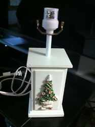 Table Wooden Lamp White Floral $9.00