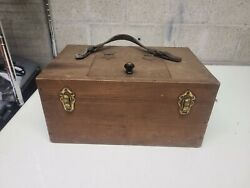 Vintage 1920s Wood amp; Brass Fishing Live Bait Box Beautiful Condition $95.00