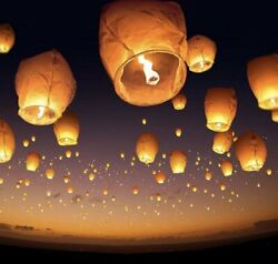 Giant Chinese Paper Lantern Biodegradable NEW In Memory Of Flame Retar $6.99