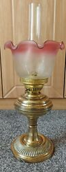Antique Glass Oil Lamp Brass Stem Etched Lamp Shade 53 cm GBP 79.99