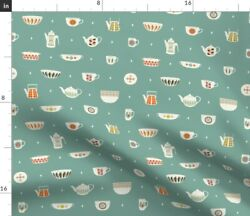 Green Vintage Kitchen Retro Decor Dishes Mid Fabric Printed by Spoonflower BTY $31.00