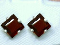 Natural Red Garnet Earrings 925 Sterling Silver 4mm Square USA Made $20.00
