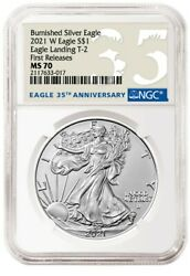 2021 W Burnished American Silver Eagle Type 2 NGC MS70 FR $159.99