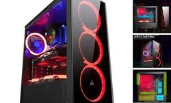 N17 Computer Case with 3 LED Red Fans PC Gaming ATX Case Acrylic Side Panel $97.99