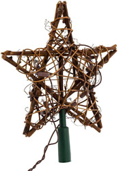 Kurt Adler 9quot; Eco Country Natural Brown Rattan Star Christmas Tree Topper Clea $28.68
