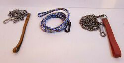Misc. Dog Leashes 4#x27; Chain w Leather Handle amp; 4.5#x27; Braided Nylon You Choose $10.99