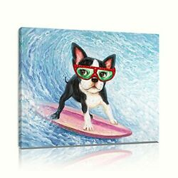 Canvas Wall Art Painting Dog Wearing Sunglasses Surf in 12quot;x16quot;x1 Surfing Dog $26.42