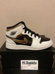 New Air Jordan 1 Mid Gold Shadow GS 4Y 554725 190 White Multi Color Black Gold $119.99