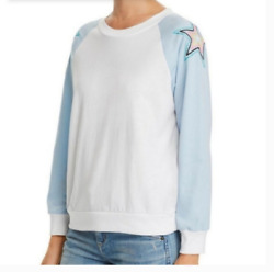 WILDFOX Embroidered Star Long Sleeve Color Block Lightweight T Shirt Med B1402 $29.95