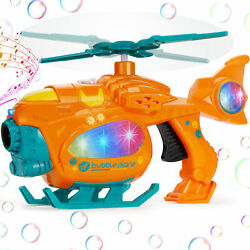 Novety Helicopter Automatic Bubble Guns Toddler Light Up Bubble Machine Kid Gift $14.99