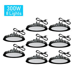 8 Pack 300W UFO Led High Bay Light Warehouse Factory Commercial Light Fixtures