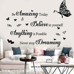 Wall Stickers Inspirational Quotes Be Amazing Today Believe in Yourself Black 1 $16.08