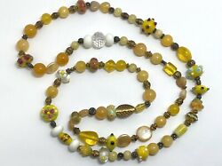Vintage Glass Beaded Heavy Yellow Single Strand Flowers Necklace 38quot; $7.99