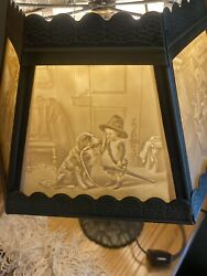 ONE Lithophane Porcelain Lamp Shade w Lamp 6 Panel With Pictures. Display Item $450.00