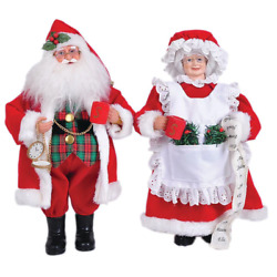 Resin Mr. Mrs. Claus Freestanding Tabletop Christmas Decor Home Room Use 15quot;2Set $73.04