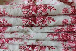 French Antique BlockPrinted Pink Rose Cotton Chintz Fabric Panel c1860 70 2yd2quot; $134.00