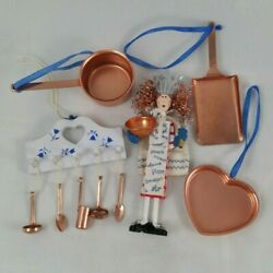 Copper Kitchen Theme Christmas Ornaments Lot Of 5 Cooking Midwest amp; Hallmark $32.95