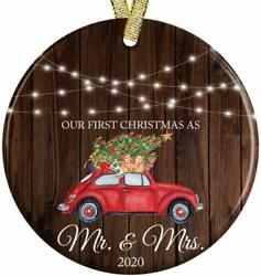 Our First Christmas as Mr and Mrs 2021 Rustic Wood Look Newlyweds Gift Idea Red $6.93