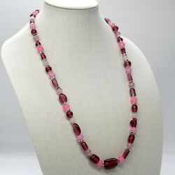 Necklace with red glass beads and rhinestones. $39.00