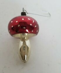 Vintage Glass DOTTED MUSHROOM Christmas Ornament 3quot; $26.00