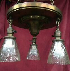 Antique Brass 3 Light Chandelier Arts and Crafts Ceiling Light Fixture amp; shades $179.99