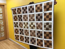 """Handmade Shades of Brown 45""""x55"""" Throw Quilt $75.00"""