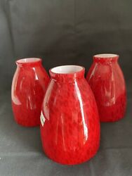 3 Lots Murano Style Blown Glass Lamp Fan Pendant Replacement Shades Red EUC $38.00