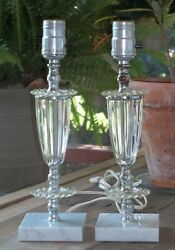 Vintage Pair Mid Century Table Lamps Glass Lucite Italian Marble $25.00