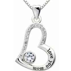 Love you mom Pave Heart Necklace Made with Swarovski Crystals $12.99