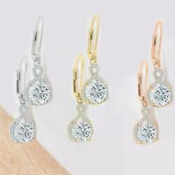 Round Cut Halo Drop Earrings Made with Swarovski Crystals $12.99
