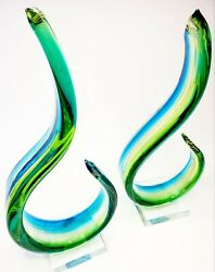 MURANO Pair Of Large Art Glass Wavy Spectrum Yellow Green Blue Abstract On Base $74.00