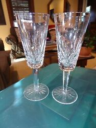WATERFORD Crystal LISMORE Set Of 2 FLUTED CHAMPAGNE GLASSES 7 1 4quot; $65.00